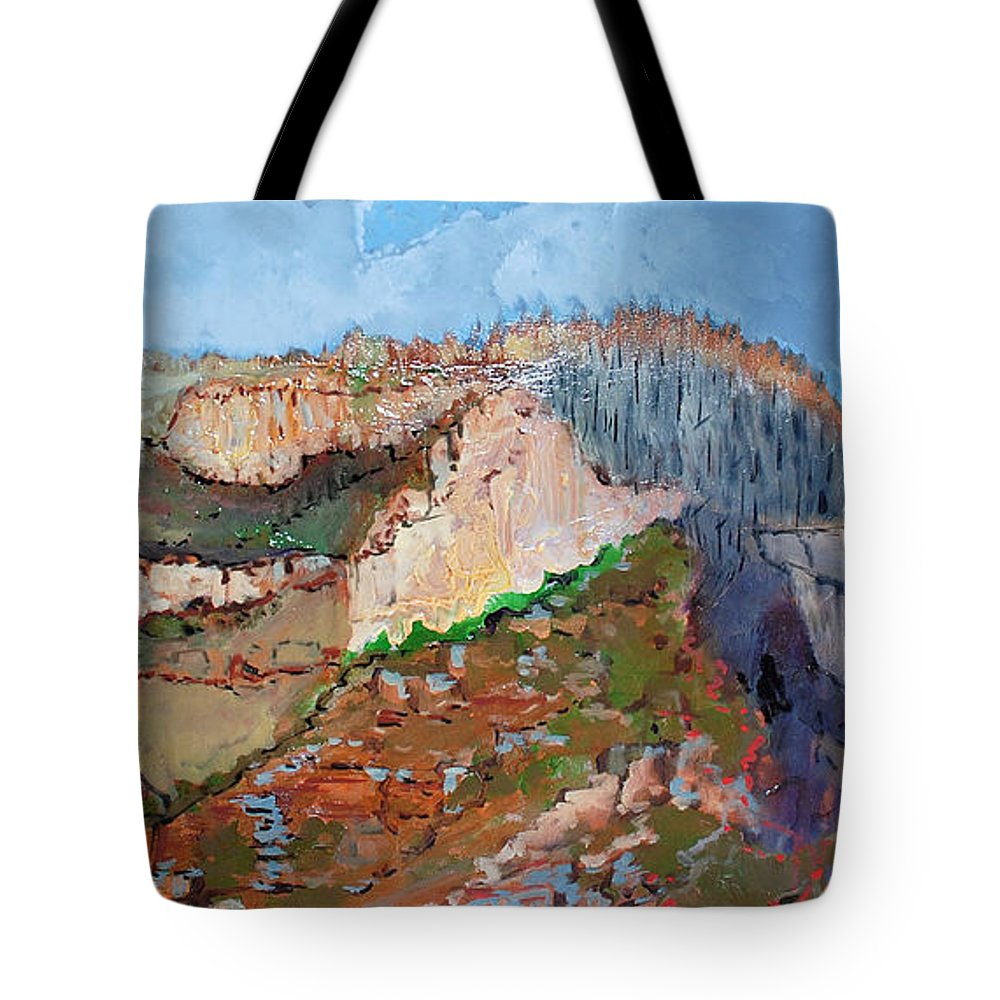 Mountains Tote Bag featuring the painting The Rockies by Kurt Hausmann