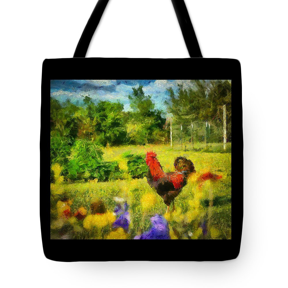 Garden Tote Bag featuring the painting The Rooster's Garden by Sherry Gaston