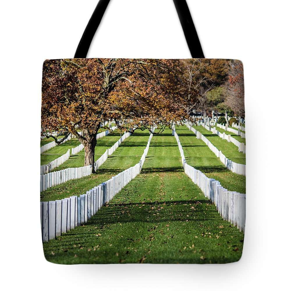 These Are The Unending Rows Of Tombstones At Arlington Cemetery Tote Bag featuring the photograph The Rows by William Rogers