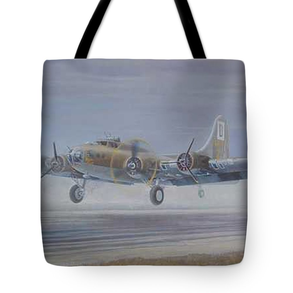 The Only Survivor Of The 100th Bomb Group On The October 10 Tote Bag featuring the painting The Royal Flush comes home by Scott Robertson