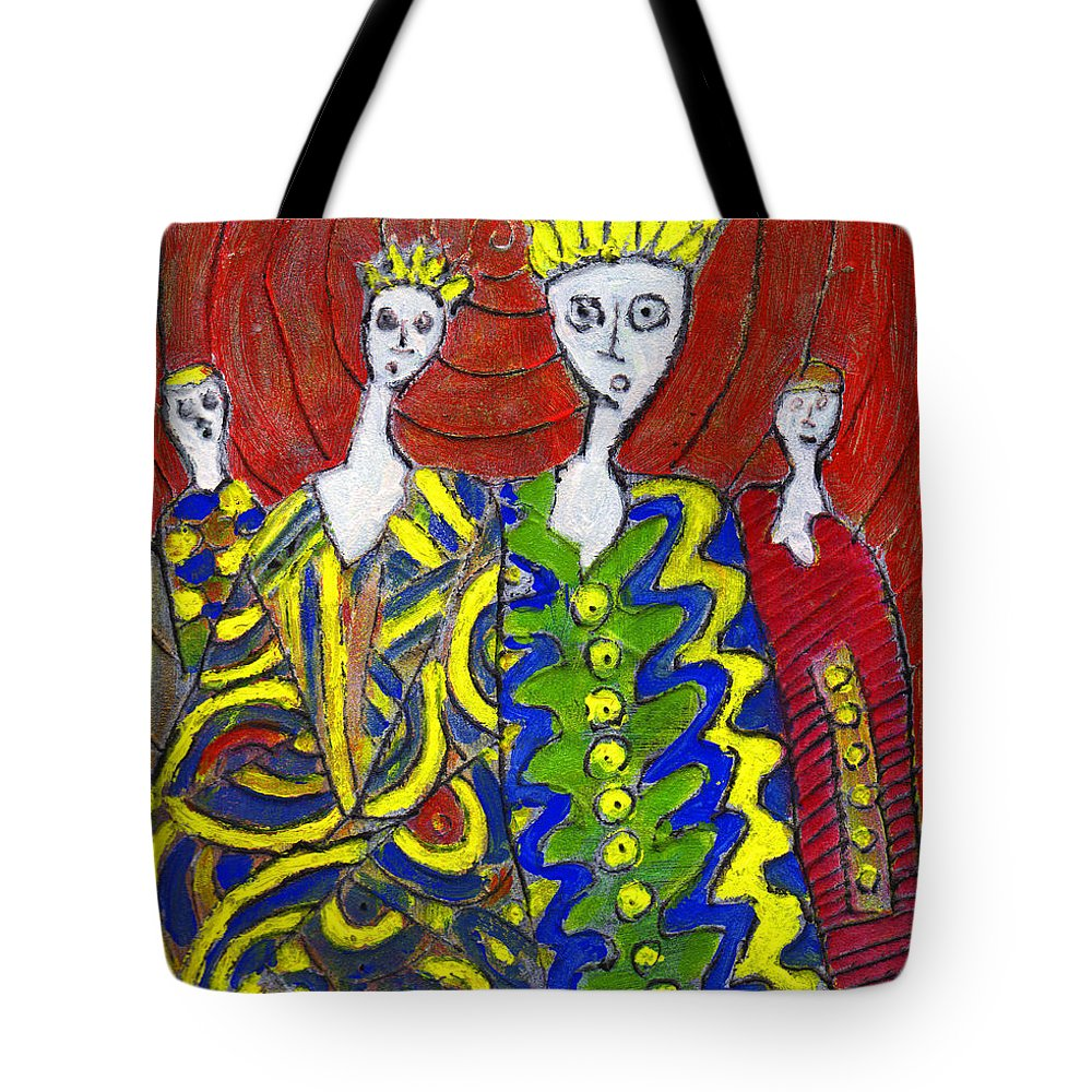 Abstract Tote Bag featuring the painting The Royal Sisters by Wayne Potrafka