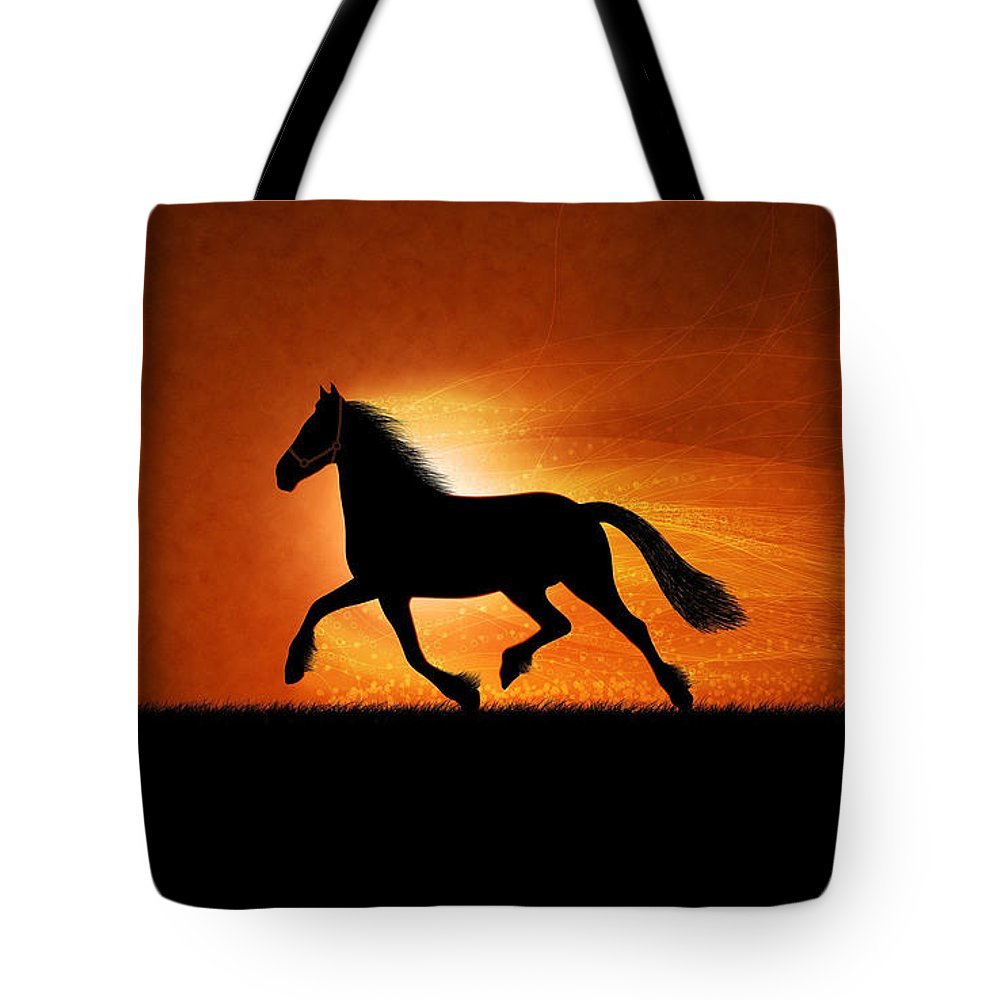 Landscape Tote Bag featuring the digital art The Running Horse Background by Glend