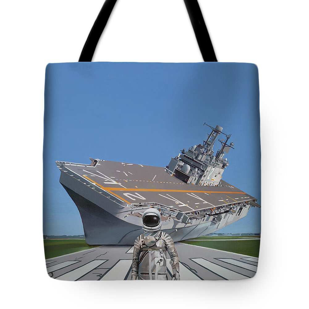 Astronaut Tote Bag featuring the painting The Runway by Scott Listfield