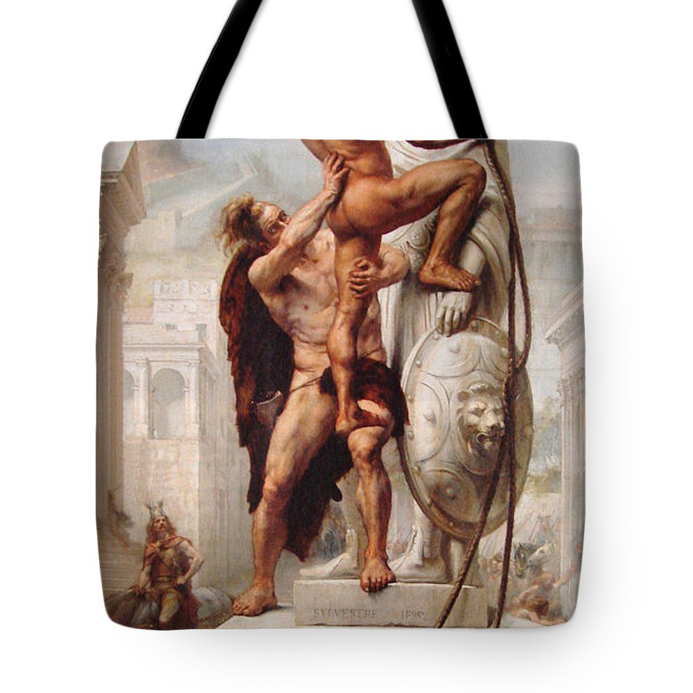 Sack Tote Bag featuring the painting The Sack Of Rome - 410 by Troy Caperton 8b9863190024