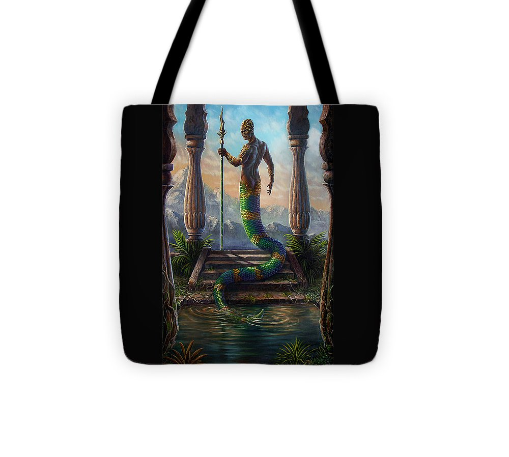 Fantasy Tote Bag featuring the painting The Sacred Pool by Carol Phillips