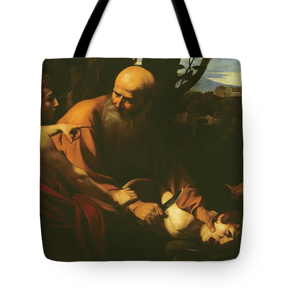 Caravaggio Tote Bag featuring the painting The Sacrifice Of Isaac by Caravaggio