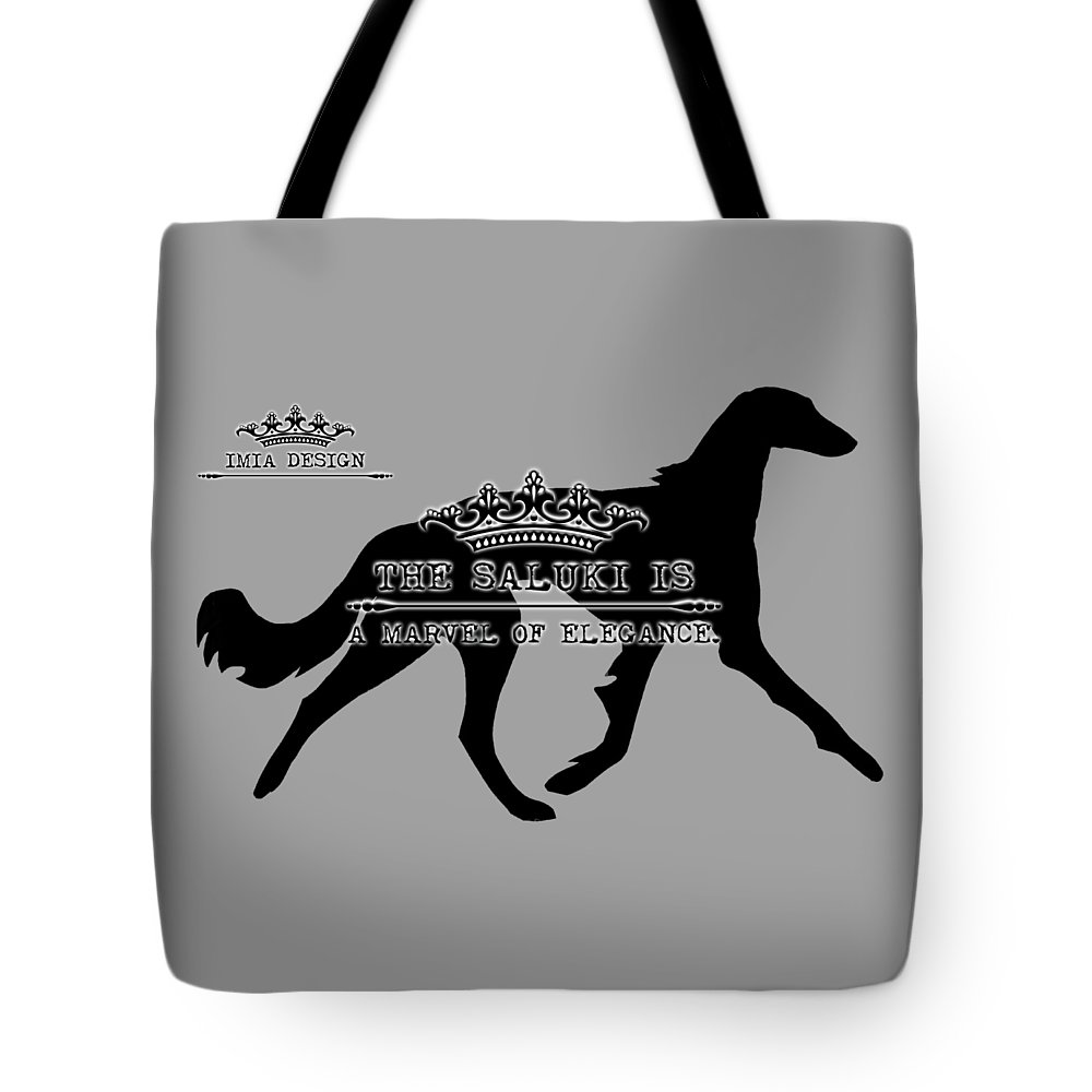 Saluki Tote Bag featuring the digital art The Saluki Is A Marvel Of Elegance by Maria Astedt