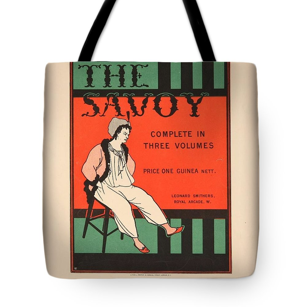 Aubrey Beardsley Tote Bag featuring the painting The Savoy by Celestial Images