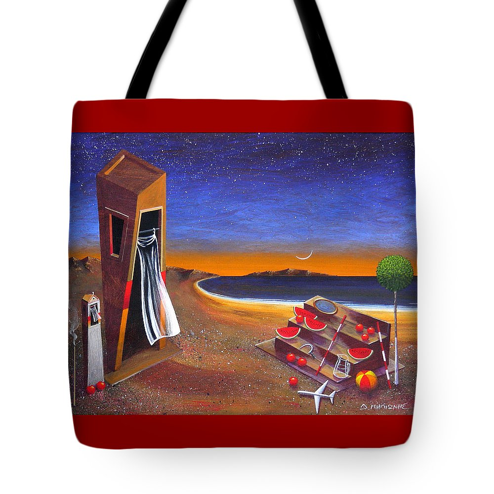 Landscape Tote Bag featuring the painting The School Of Metaphysical Thought by Dimitris Milionis
