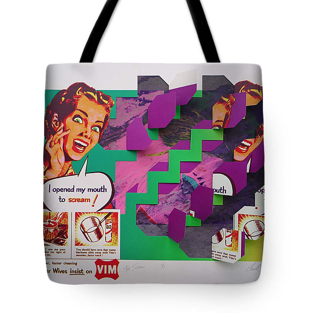 Psycho Tote Bag featuring the painting The Scream 2 by Charles Stuart