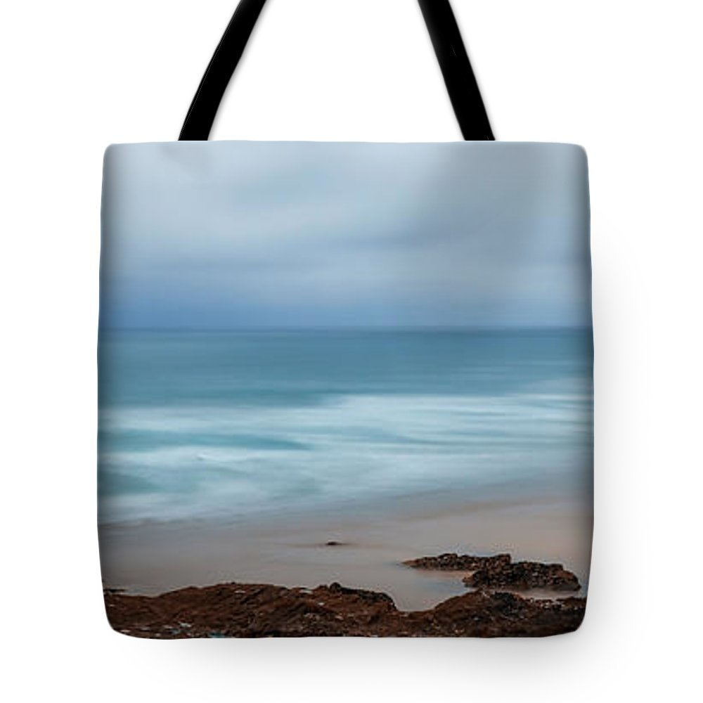 2015 Tote Bag featuring the photograph The Sea And The Beach by Andrew Proudlove