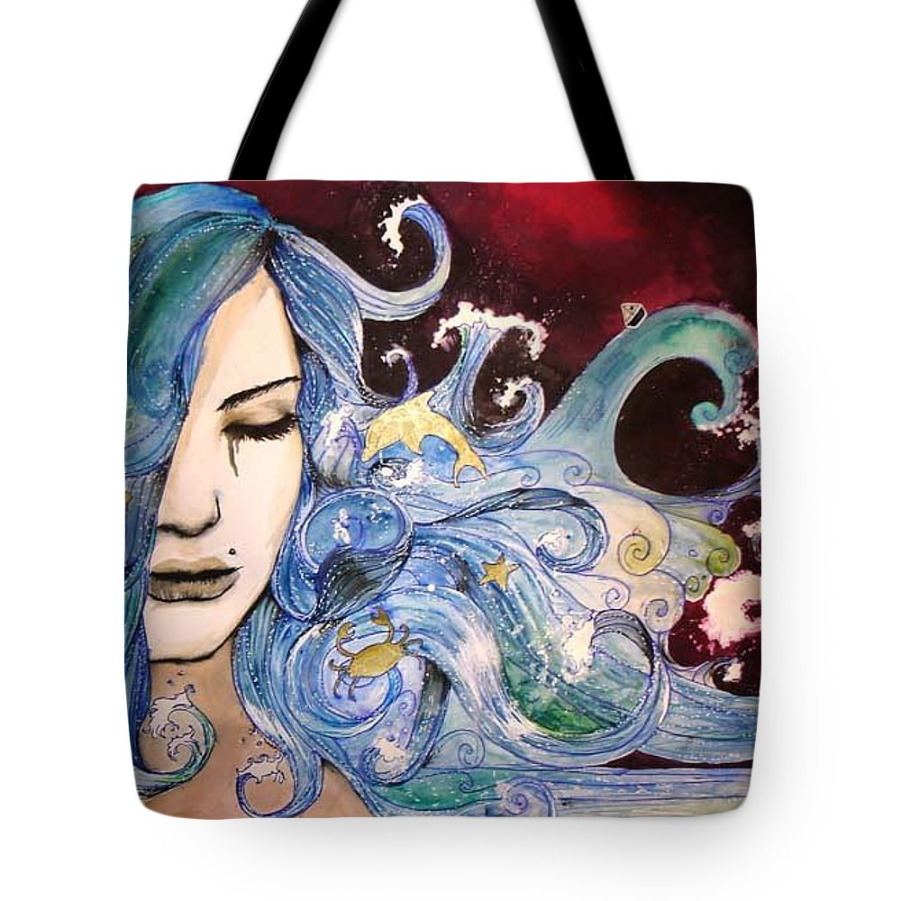 Sea Dolphin Tears Cry Boat Wave Tote Bag featuring the drawing The sea inside by Freja Friborg
