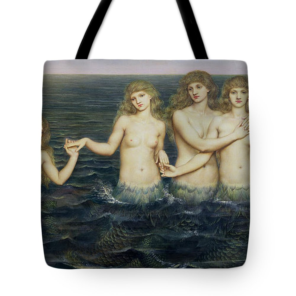 Fairy Tale; Pre-raphaelite; Sisters; Sea; Fish Tails; Breast; Nude; Mermaid; Mermaids; Five; 5 Tote Bag featuring the painting The Sea Maidens by Evelyn De Morgan