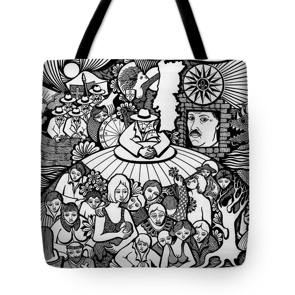 Drawing Tote Bag featuring the drawing The Sea Was Conquered The Empire Undone by Jose Alberto Gomes Pereira