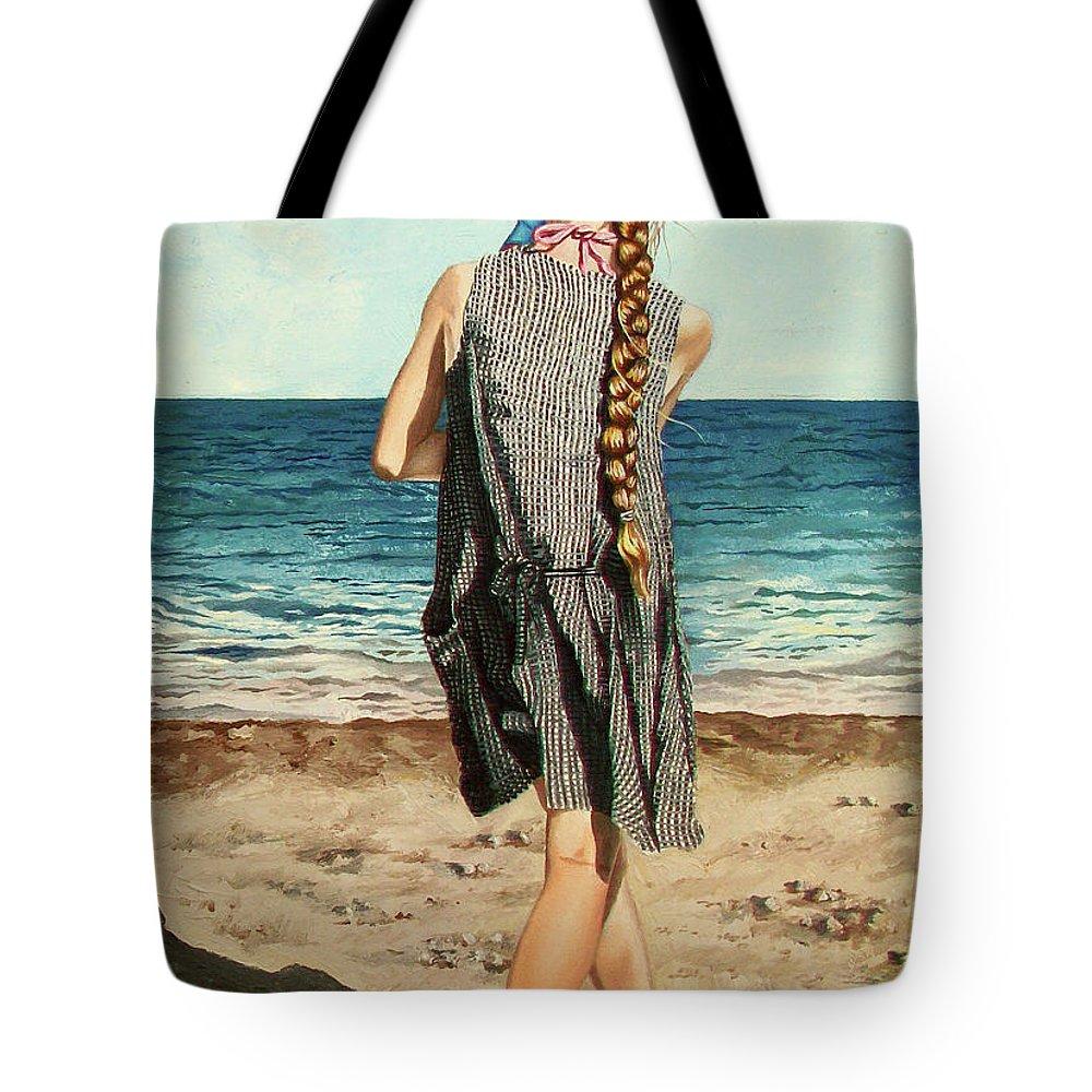 Sea Tote Bag featuring the painting The Secret Beauty - La Belleza Secreta by Rezzan Erguvan-Onal