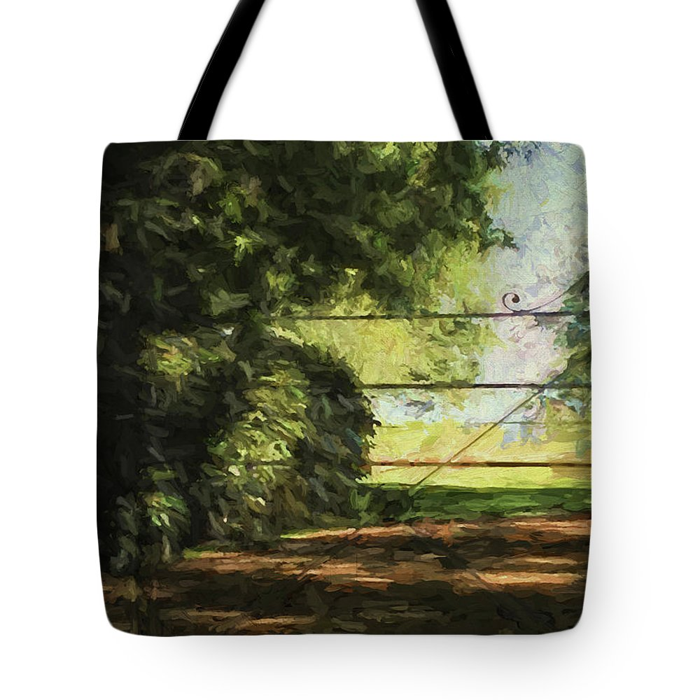 Sea Tote Bag featuring the digital art The Secret Gate by Sarah Vernon