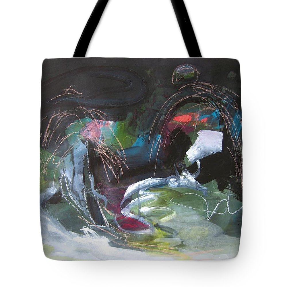Abstract Tote Bag featuring the painting The Secret Of The Shadow Original Abstract Colorful Landscape Painting For Sale Red Blue Green by Seon-Jeong Kim