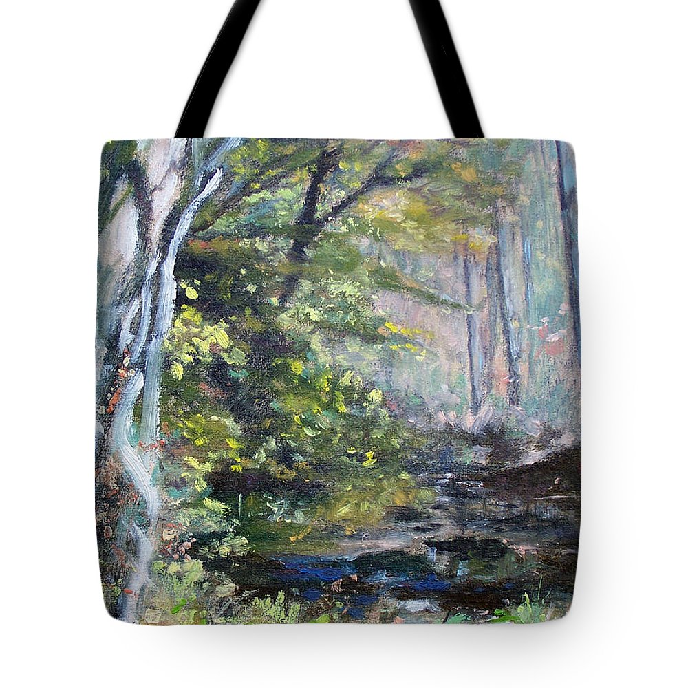 Woodland Tote Bag featuring the painting The Secret Place by Bonnie Mason