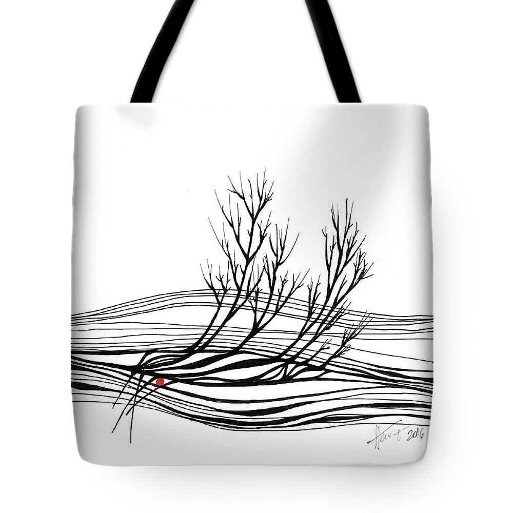 Trees Tote Bag featuring the drawing The Seed by Aniko Hencz