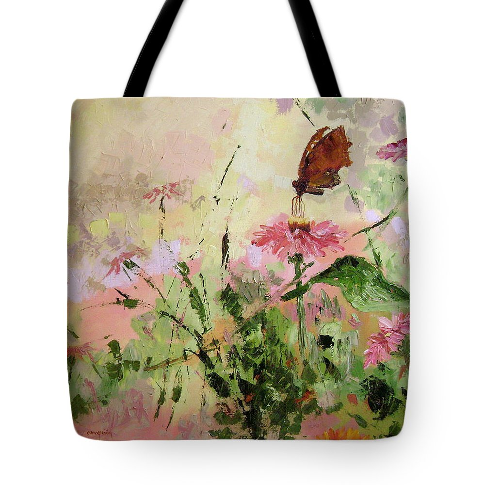 Butterflies Tote Bag featuring the painting The Seeker by Ginger Concepcion