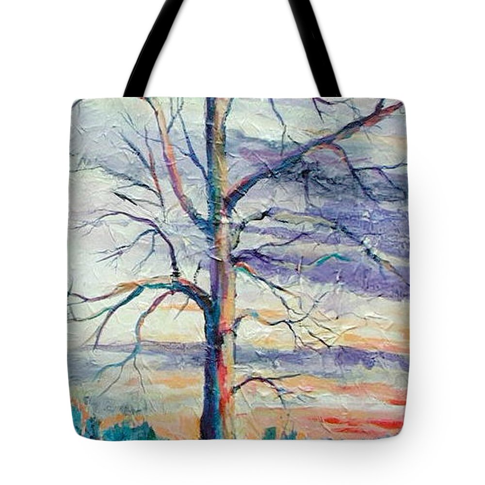 Lone Tree Tote Bag featuring the painting The Sentinel by Ginger Concepcion
