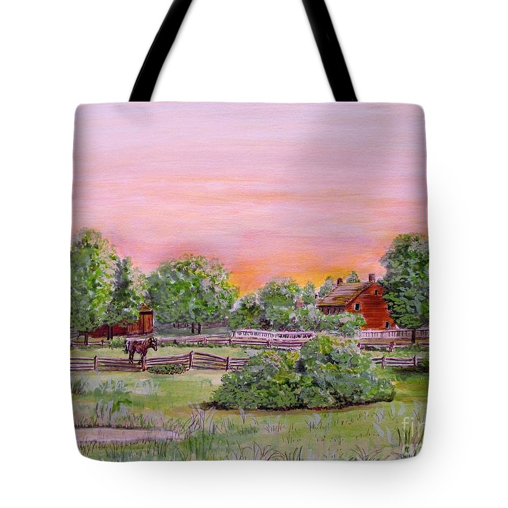 Farms Tote Bag featuring the drawing The Setting Sun On The Farm by Olga Silverman