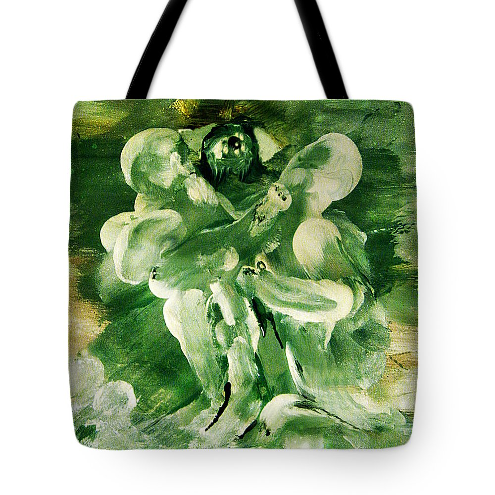 The Seven Deadly Sins Tote Bag featuring the painting The Seven Deadly Sins- Envy by Colleen Ranney