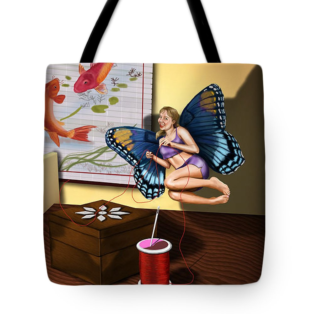 Fairy Tote Bag featuring the digital art The Sewing Fairy by Sarah-Lynn Brown