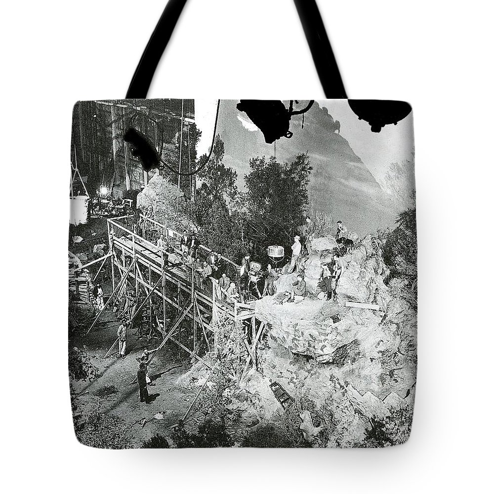 Sgt. York Set Director Howard Hawks Gary Cooper 1941 Tote Bag featuring the photograph The Sgt. York Set With Director Howard Hawks And Gary Cooper 1941-2016 by David Lee Guss