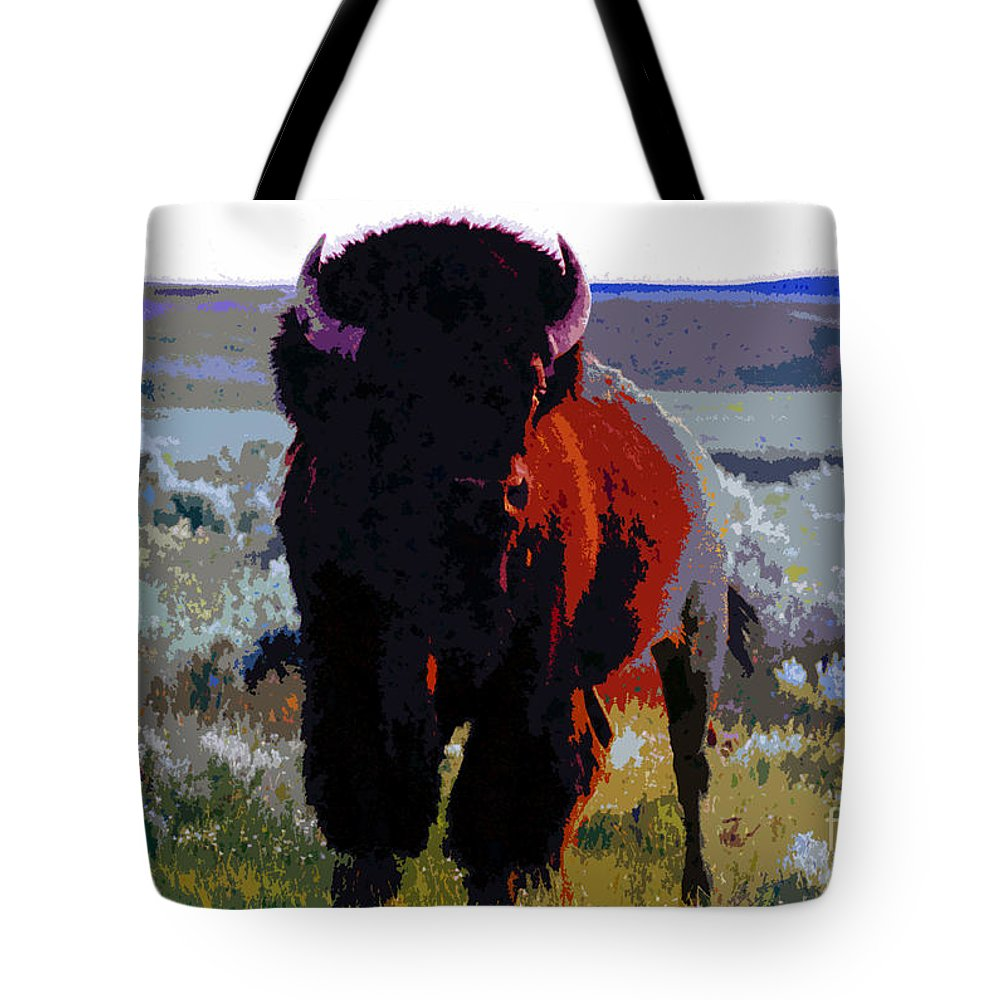 Shaman Tote Bag featuring the painting The Shamans Buffalo by David Lee Thompson