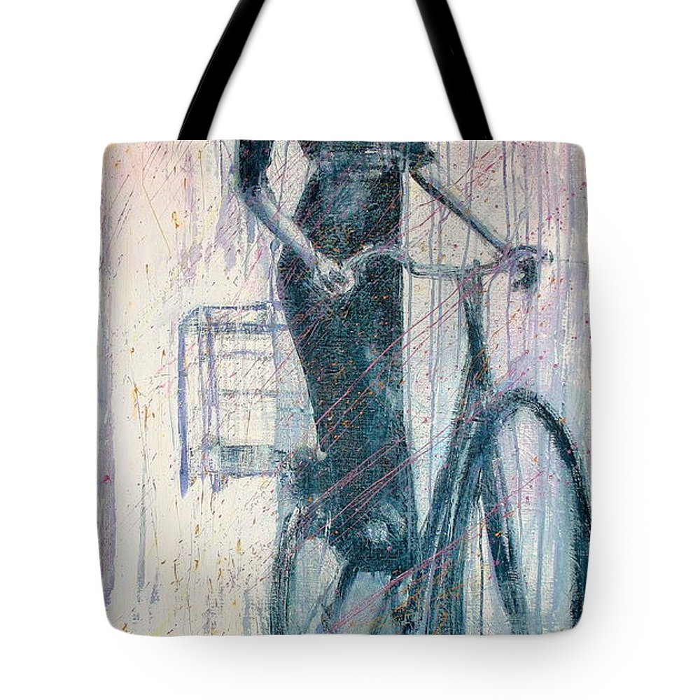 Portrait Art Tote Bag featuring the painting The She Wolf by Jarmo Korhonen aka Jarko