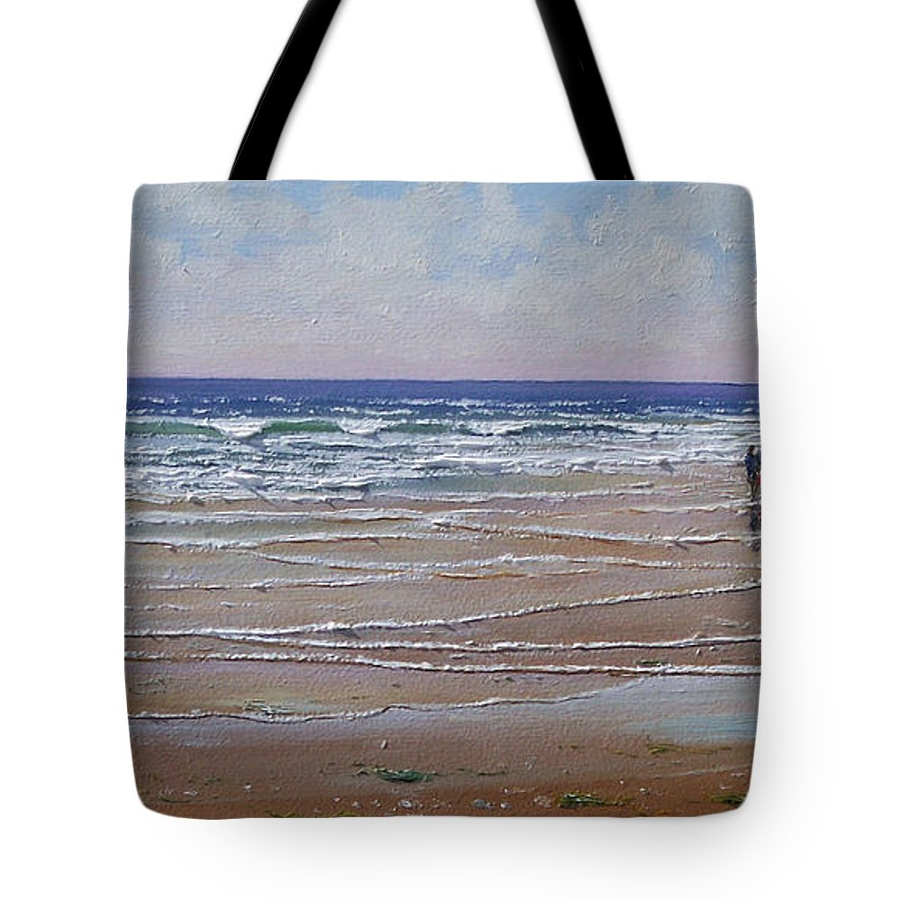 Seascape Tote Bag featuring the painting The Shell Collector by Frank Wilson