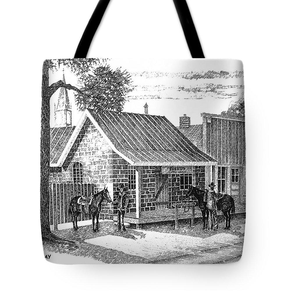 Texas Western Art Lawmen Tote Bag featuring the drawing The Sheriff And His Deputy by Donn Kay