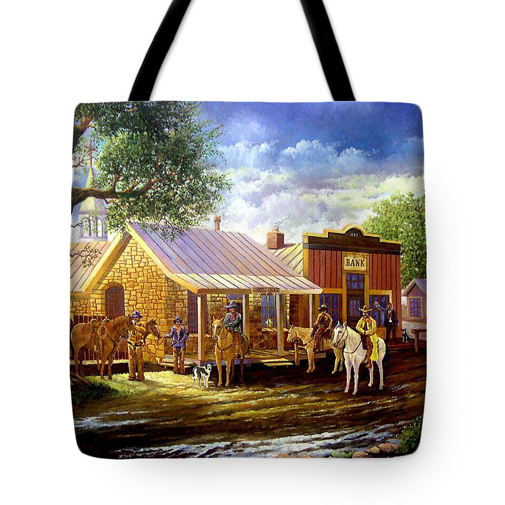 Western Art Lawmen Tote Bag featuring the painting The Sheriffs Posse by Donn Kay