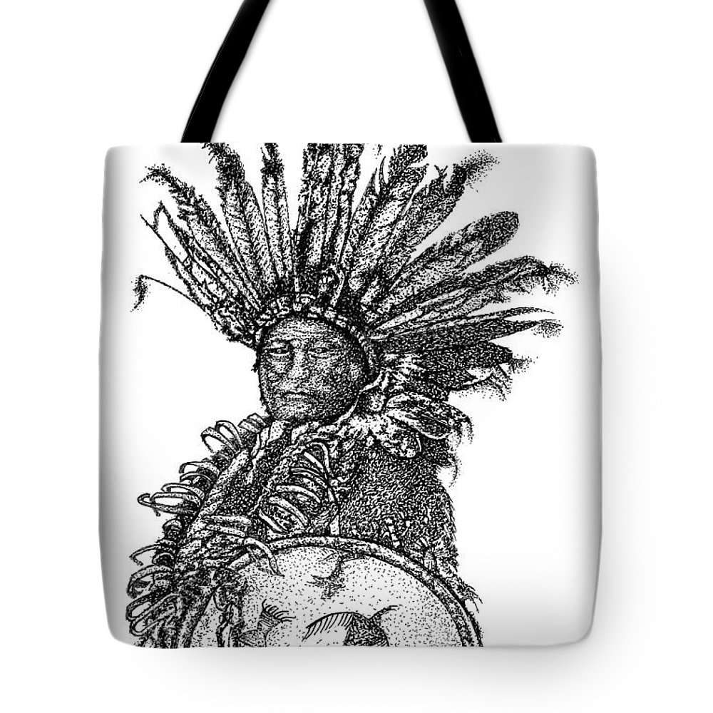 Indian Art Tote Bag featuring the drawing The Shield by Jennifer Campbell Brewer