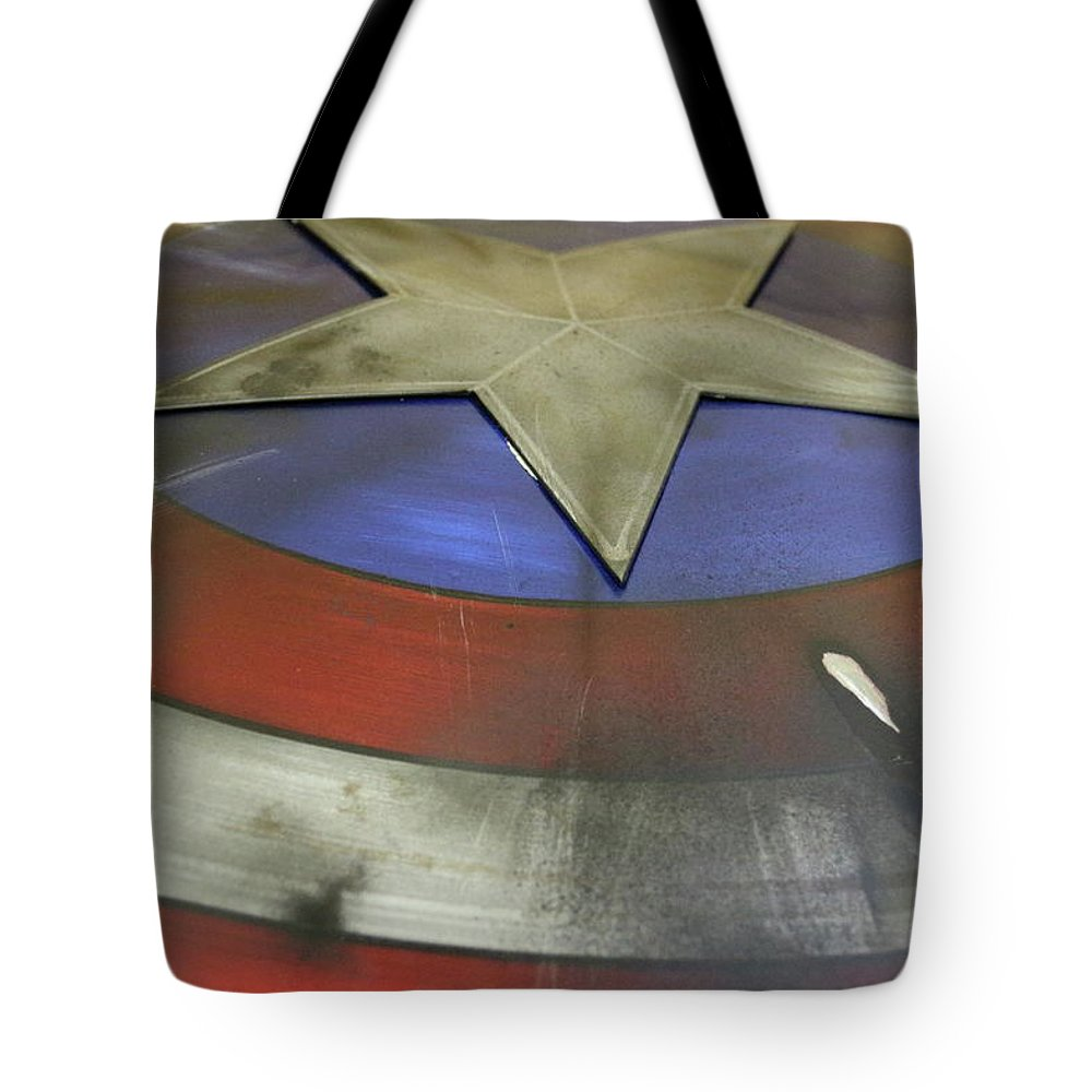 Captain America Tote Bag featuring the photograph The Shield by Stacey Scott