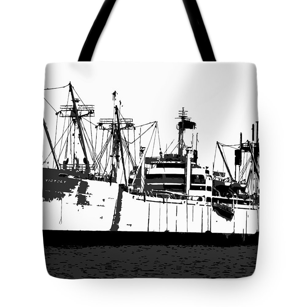 American Victory Ship Tote Bag featuring the painting The Ship by David Lee Thompson