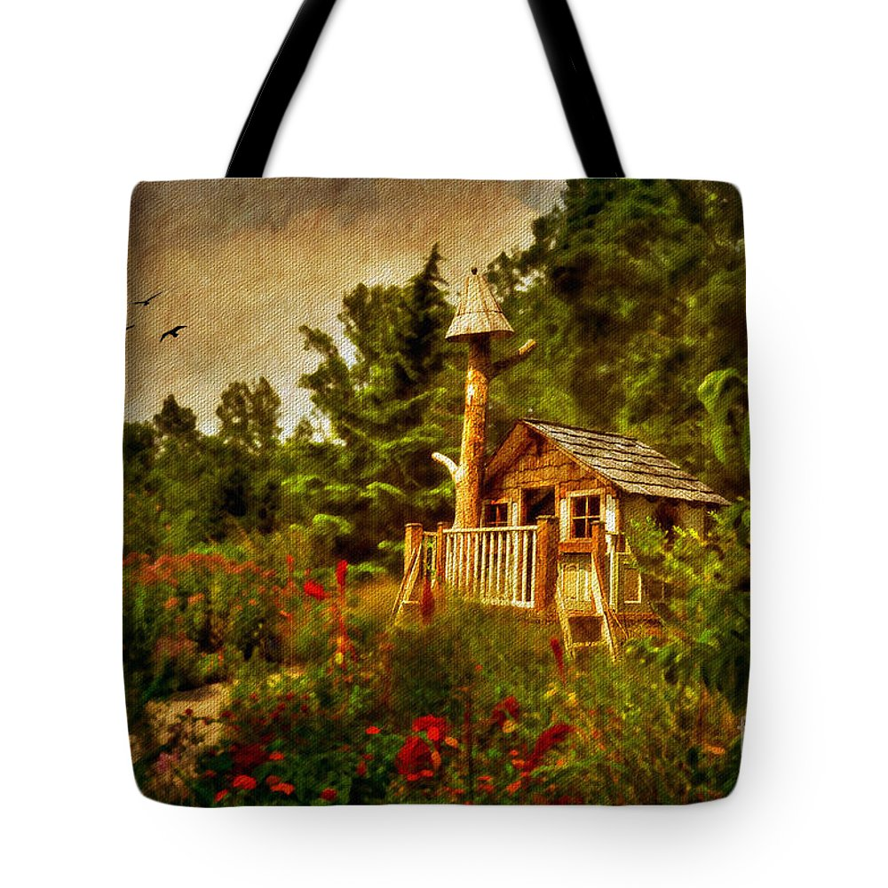 Playhouse Tote Bag featuring the digital art The Shire by Lois Bryan