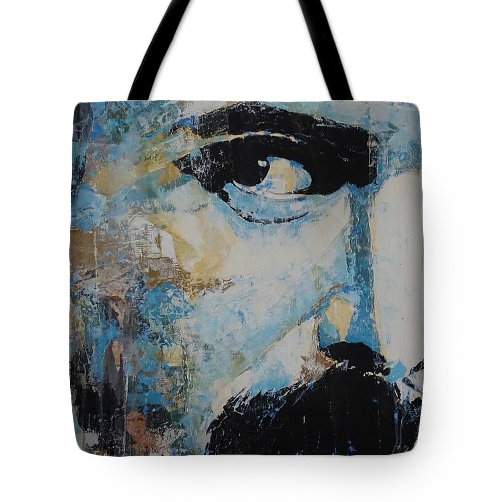 Freddie Mercury Tote Bag featuring the painting The Show Must Go On by Paul Lovering