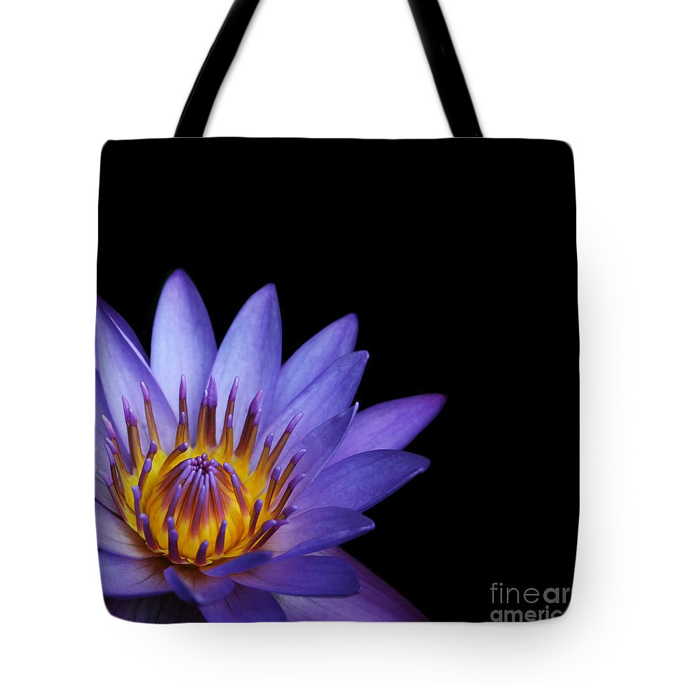 Waterlily Tote Bag featuring the photograph The Singular Embrace Topaz by Sharon Mau