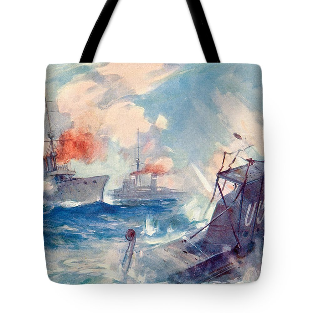 Sinking Tote Bag featuring the painting The Sinking Of A German U Boat After Being Rammed By The British Cruiser by English School