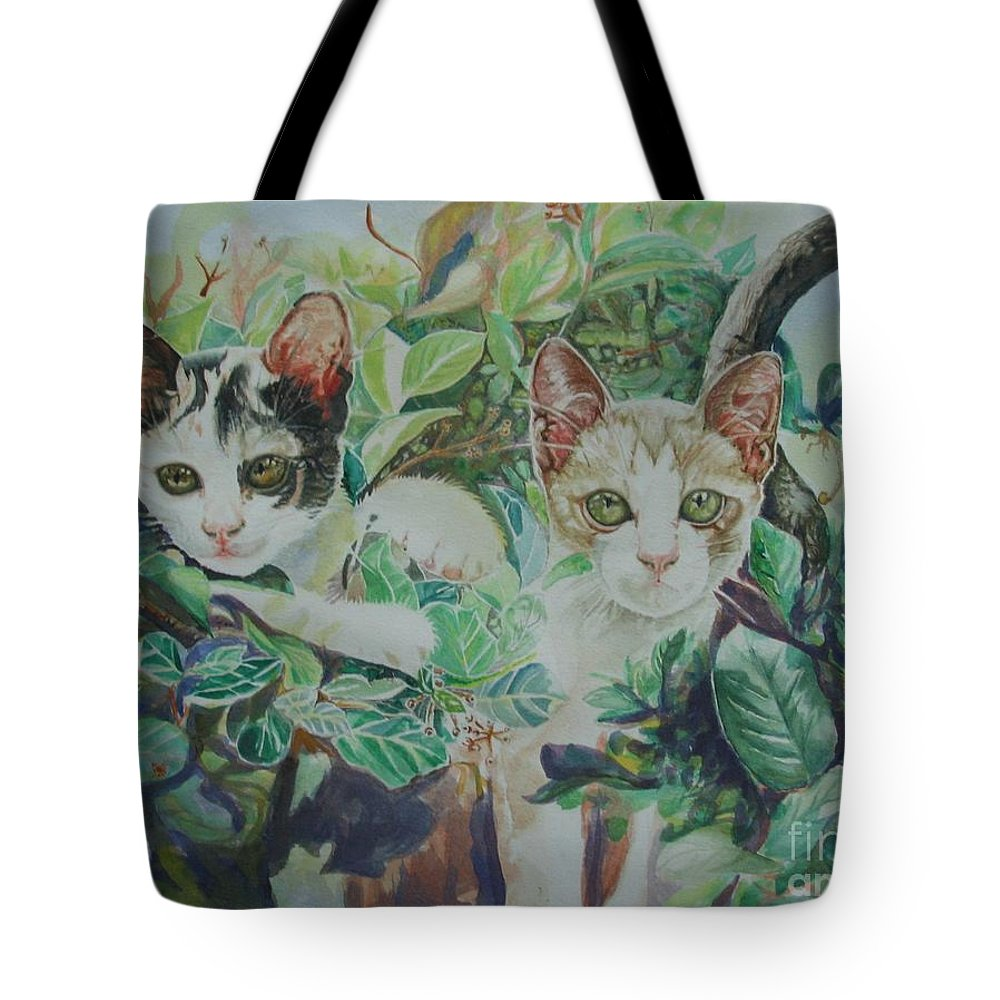 Cats Tote Bag featuring the painting The Sisters by Sukalya Chearanantana