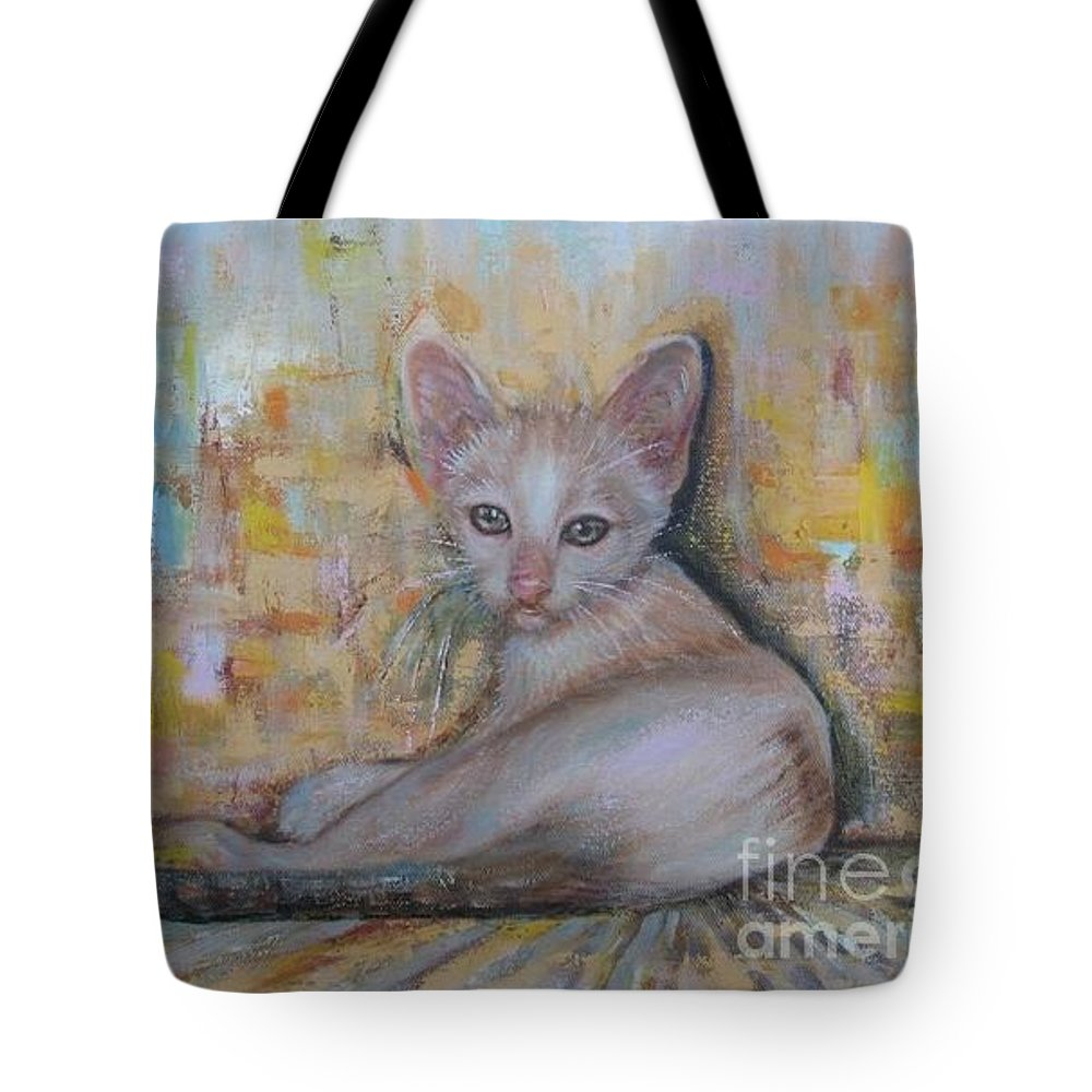 Cat Tote Bag featuring the painting The Sitting Cat by Sukalya Chearanantana