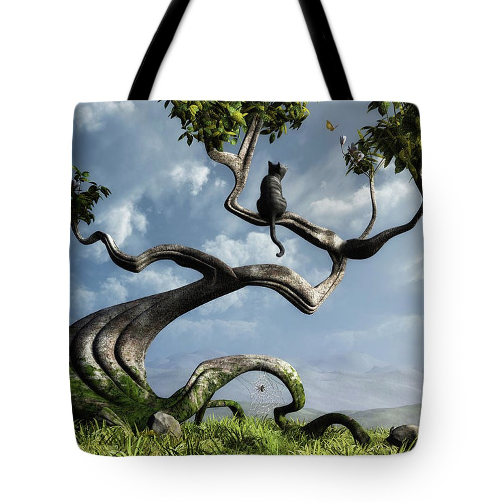 Whimsical Tote Bag featuring the digital art The Sitting Tree by Cynthia Decker