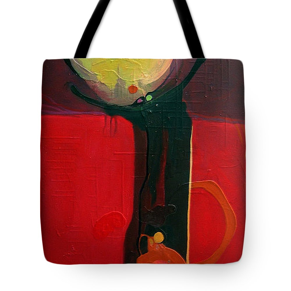 Abstract Tote Bag featuring the painting The Skinny by Marlene Burns
