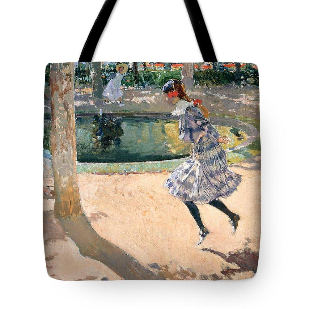 Joaquin Sorolla Y Bastida Tote Bag featuring the painting The Skipping Rope by Joaquin Sorolla y Bastida