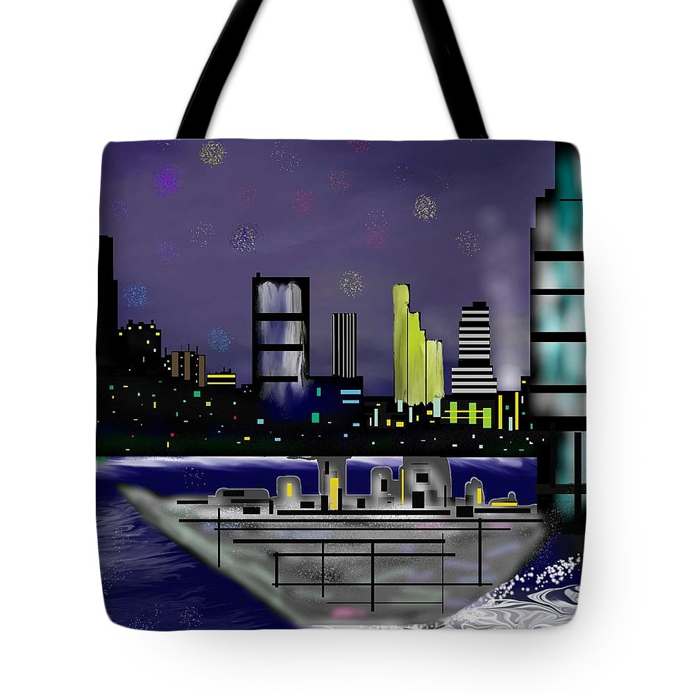 Cityscapes Tote Bag featuring the digital art The Sky Is The Limit by Abel Padilla