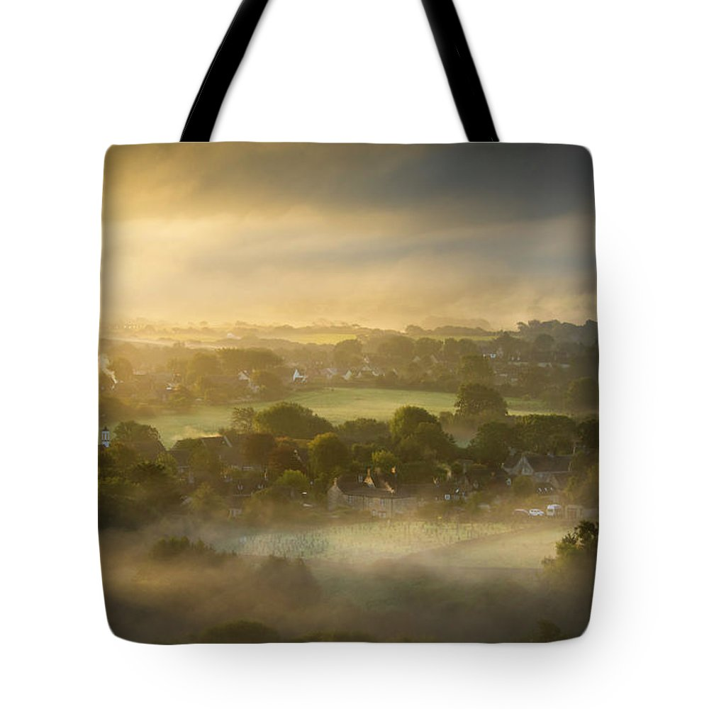 Foggy Tote Bag featuring the photograph The Sky Kissed The Land by Simon Garratt