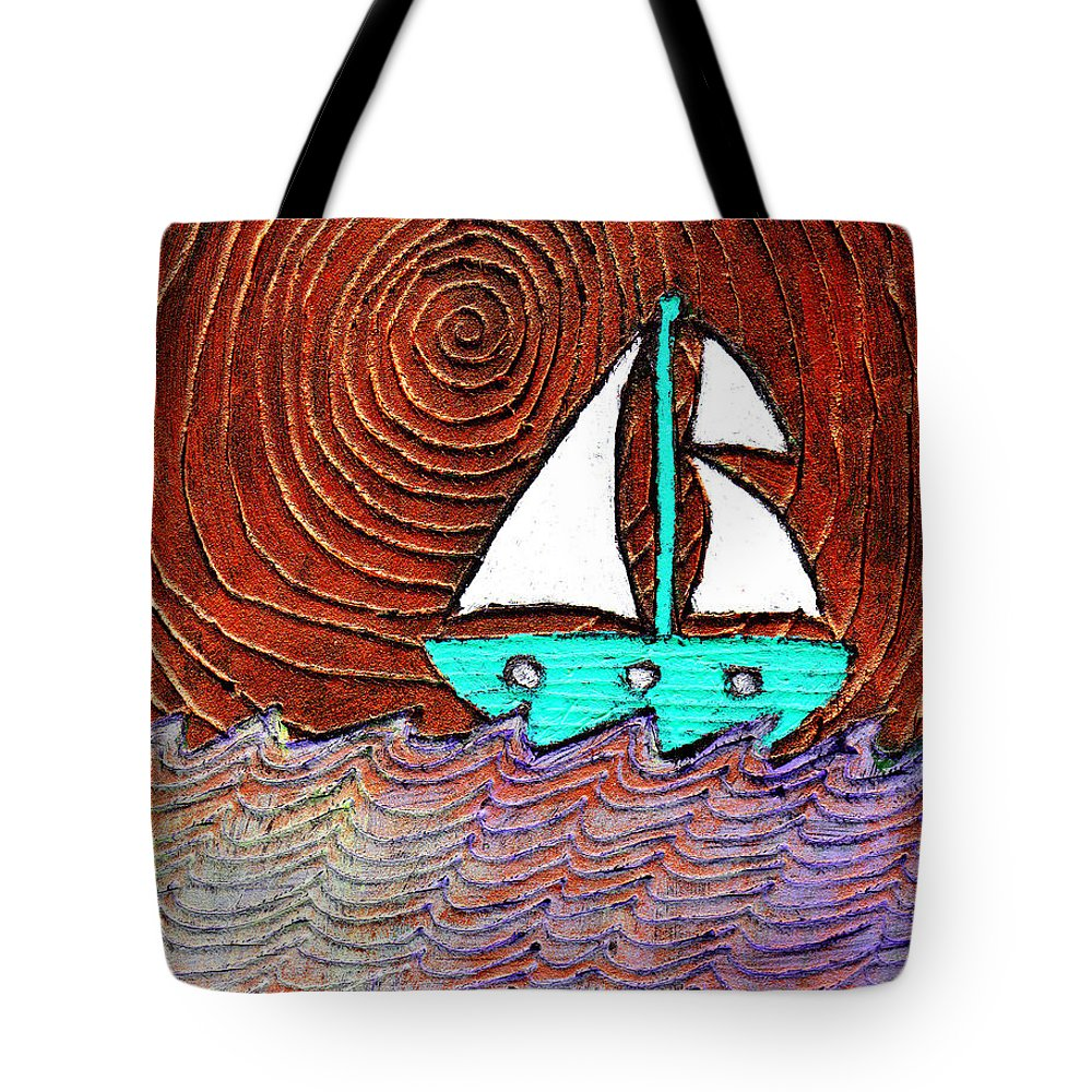 Sailing Tote Bag featuring the painting The Sky Was Bronze That Night by Wayne Potrafka