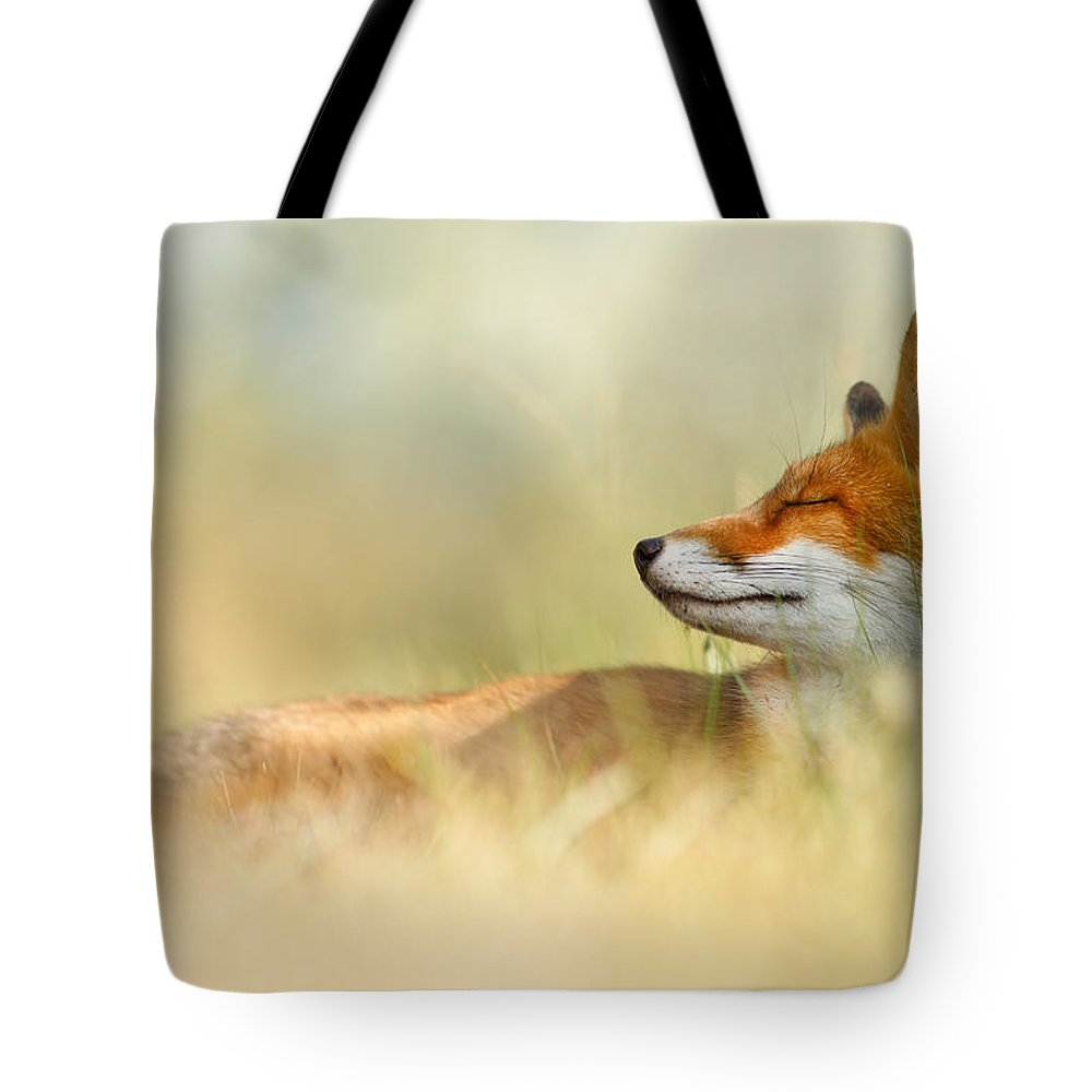 Red Fox Tote Bag featuring the photograph The Sleeping Beauty - Wild Red Fox by Roeselien Raimond